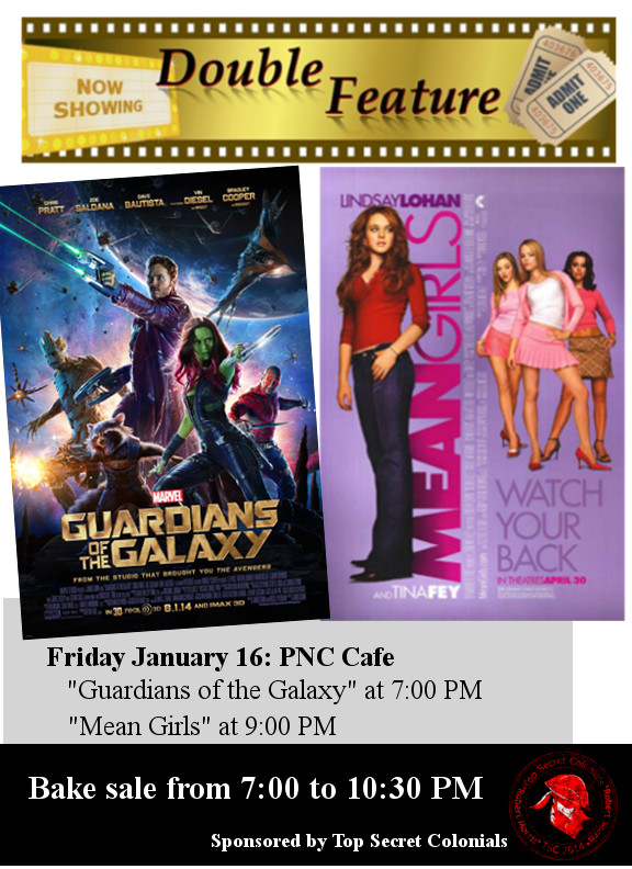 Top Secret Colonials Present Movie Double Feature – January 16th at