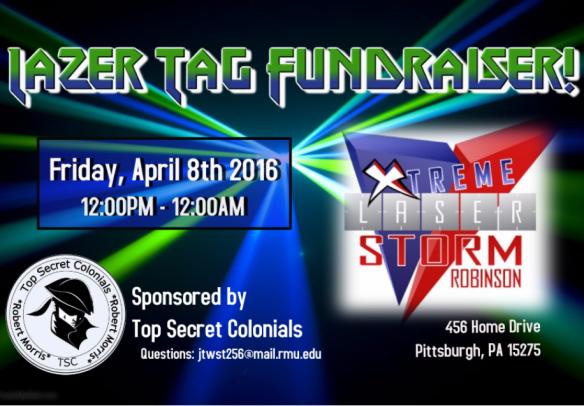 TSC Laser Tag Fundraiser – Friday, April 8th   CIS @ RMU