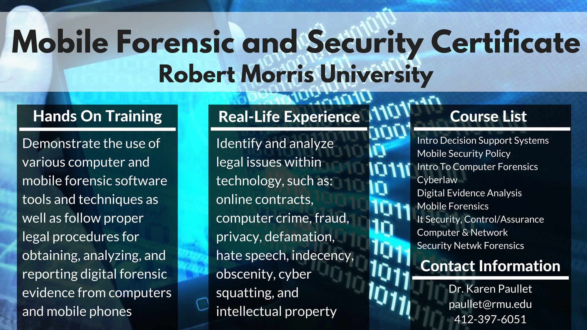 Mobile Forensics and Security Certificate | CIS @ RMU