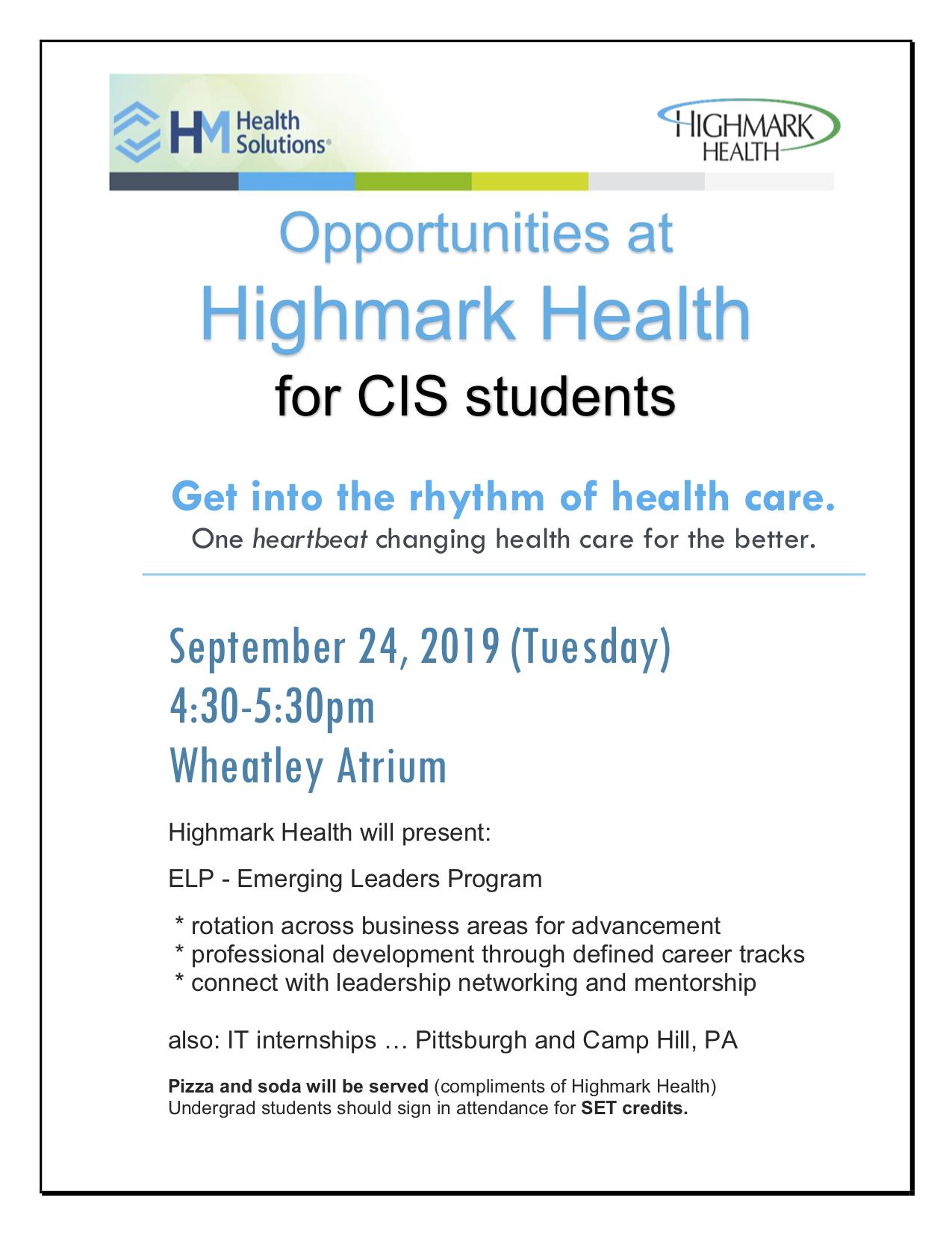 Highmark Health flier 2019-0924 updated